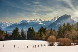 Landscape with Mountain zahmer Kaiser in Tyrol Austria in winter