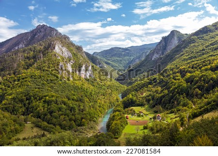 Landscape with mountains and canyon of river Tara, Montenegro
