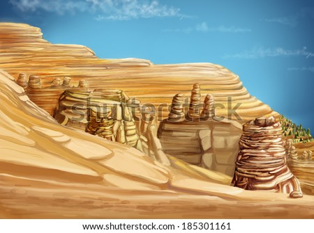 Landscape with mountains and sand