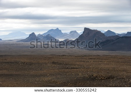 Landscape with mountains near Langjokull, Central Iceland