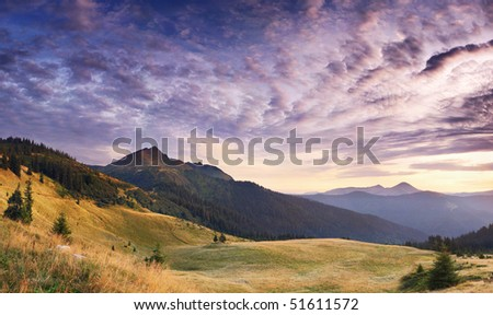 Landscape with mountains under morning sky with clouds #51611572