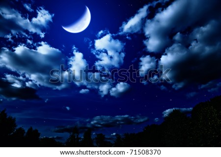 Landscape with night summer forest with green trees and bright large moon in dark sky with clouds and stars