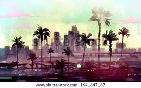 Landscape with palm trees in Los Angeles. Imitation of an abstract oil painting by skyline Seattle. Stock photo ©