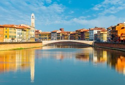 Landscape with Pisa old town and Arno river, Tuscany, Italy