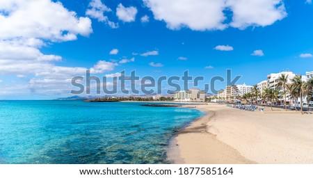 Landscape with Playa del Reducto im Arrecife, capital of Lanzarote, Canary Islands, Spain Foto stock ©