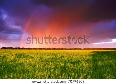 landscape with rainbow over fields, raining in the distance