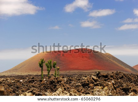 Landscape with red volcano