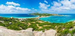 Landscape with Rena di Levante and Rena Di Ponente beach, Capo Testa, Sardinia island, Italy