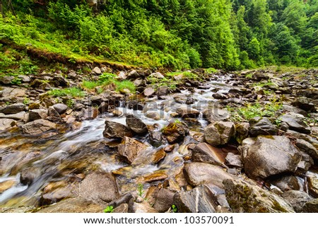 Landscape with river flowing through rocks