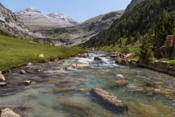 Landscape with river in Ordesa National Park in Pirineos