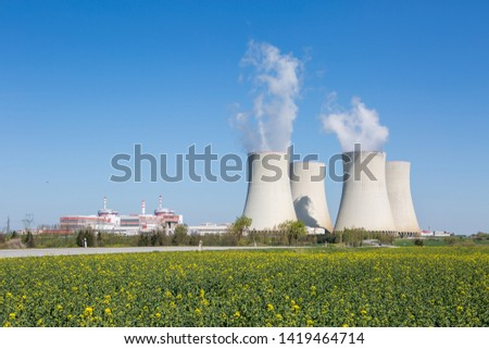 Landscape with road to the nuclear power plant. Temelin, Czech Republic.