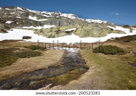 Landscape with rocks and snow on a sunny day. Horizontal