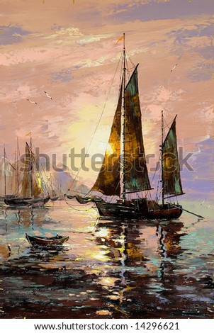 Landscape with sailing boats on the sea