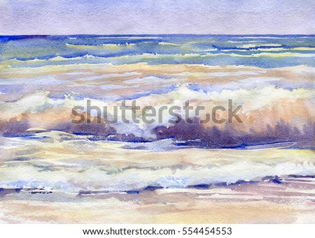 Landscape with sea surf, painted in watercolor. Seascape.