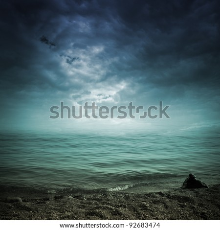 landscape with see and dramatic sky