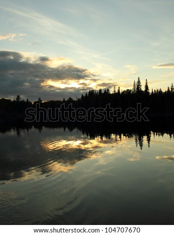 landscape with sunset forest and lake