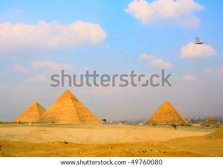 Landscape with the Egyptian pyramids and the desert