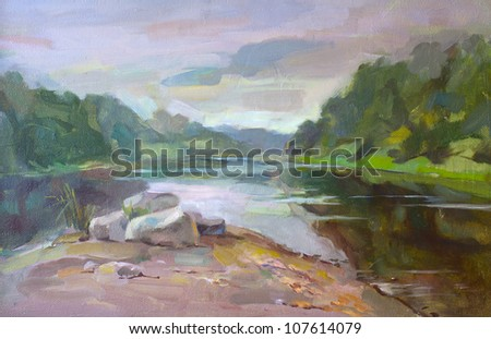 Landscape with the river. Oily painting.