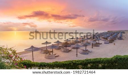 Landscape with three corners fayrouz beach resort at sunrise in Marsa Alam, Egypt
