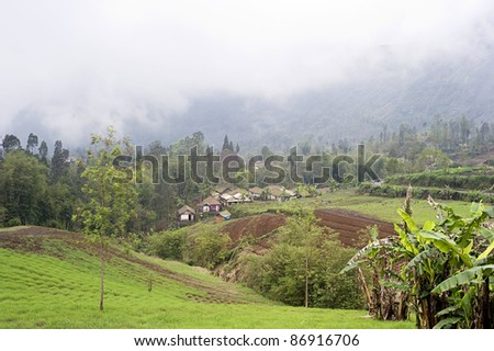 Landscape with traditional Indonesian mountain village. East Java, Indonesia