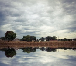 Landscape with trees and clouds with their reflection in the water