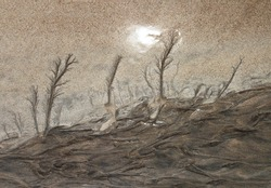 landscape with trees and waves - drawing in the sand at low tide