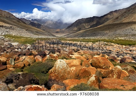 Landscape with valley, river and stones  in himalayas. India