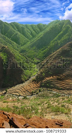 landscape with views of agricultural fields on the slopes of the Himalayas, the State of Uttarakhand, India
