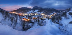 Landscape with Village at winter night, panorama