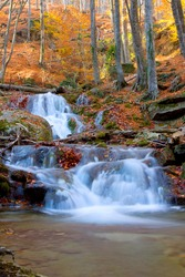 Landscape with waterfall in autumn forest