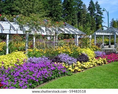 Landscaped flower garden, Stanley Park, One of the Largest Urban Park's in The World - Vancouver, BC, Canada