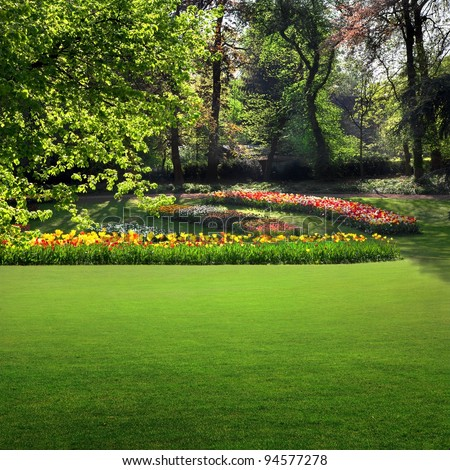 Landscaped Formal Garden. Park. - stock photo