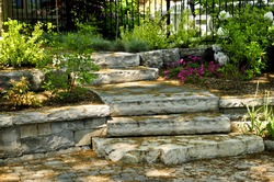Landscaped front yard with natural stone steps and walkway