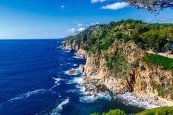 Landscapes and details of the coast of Tossa de Mar, Costa Brava, Spain