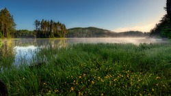 Landscapes from Shiroka Polyana dam during the golden hour