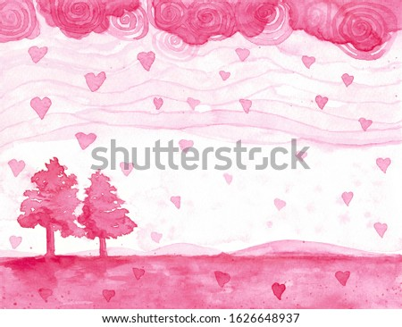 Landscapes full love ,heart , sky pink, and twin tree hand design for Valentine's Day invitation card, invitation card wedding on pink background.