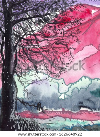 Landscapes full love, mountain pink, sky purple, and twin bird tree foreground hand design for Valentine's Day invitation card, invitation card wedding