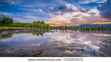 landscapes golden hour and blue hour #1154293672