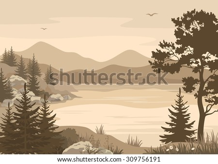 Landscapes, Lake, Mountains with Trees, Flowers and Grass, Birds in the Sky Silhouettes.