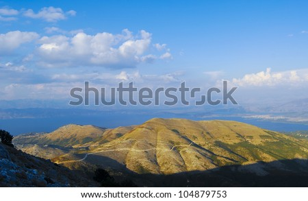 Landscapes of  Albania from Pantokratoras Kerkyra, Corf�¹, Greece.