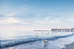 Landscapes of Poland. Calm sunset at Baltic sea.  Gdansk.