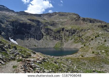 Landscapes of the Hautes-Alpes, Lake Puy Vachier, hiking La Grave, National Park Ecrins, Hautes-Alpes, Alps, France