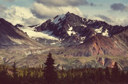 Landscapes on Denali highway.Alaska. Instagram filter.