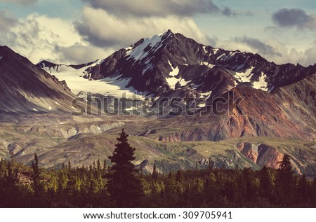Landscapes on Denali highway.Alaska. Instagram filter. - Shutterstock ID 309705941