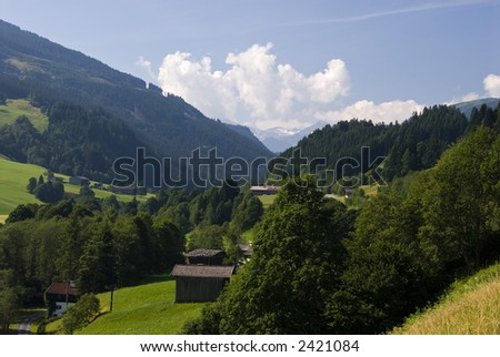 Landscapes with mountain farms and villages in the area of Thun, Tirol, Austria.