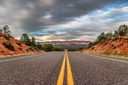 Landscapes with road after sunset. Utah state. USA.