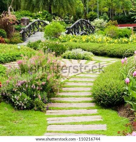 Landscaping in the garden. The path in the garden. #110216744
