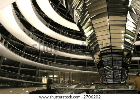 landscapre view of interior of reichstag, berlin, germany