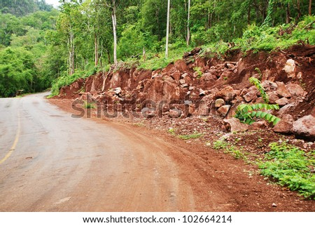Landslide by the road, Thailand