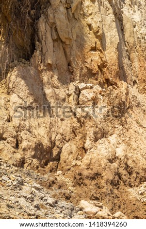 Landslide zone on Black Sea coast. Rock of sea rock shell. Zone of natural disasters during rainy season. Large masses of earth slip along slope of hill, destroy houses. Landslide - threat to life #1418394260